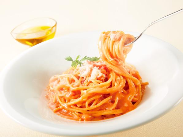 紅ずわい蟹のアメリカンソーススパゲッティ