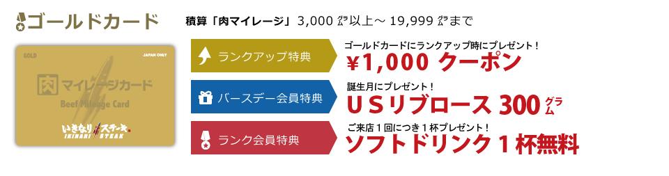いきなりステーキ肉マイレージゴールドカード