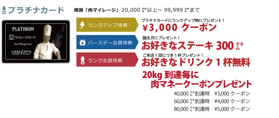 いきなりステーキ肉マイレージプラチナカード